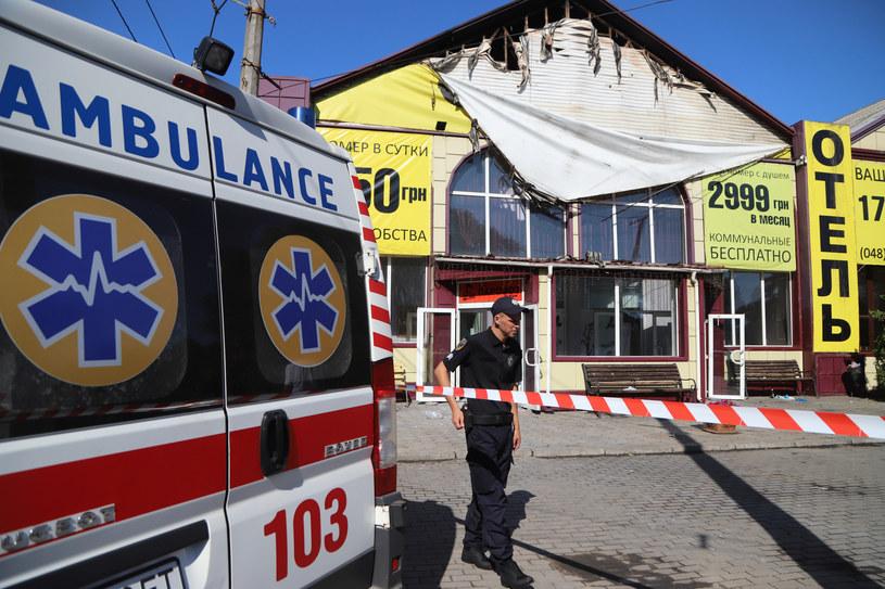 Pożar hotelu w Odessie na Ukrainie /Oleksandr GIMANOV /AFP