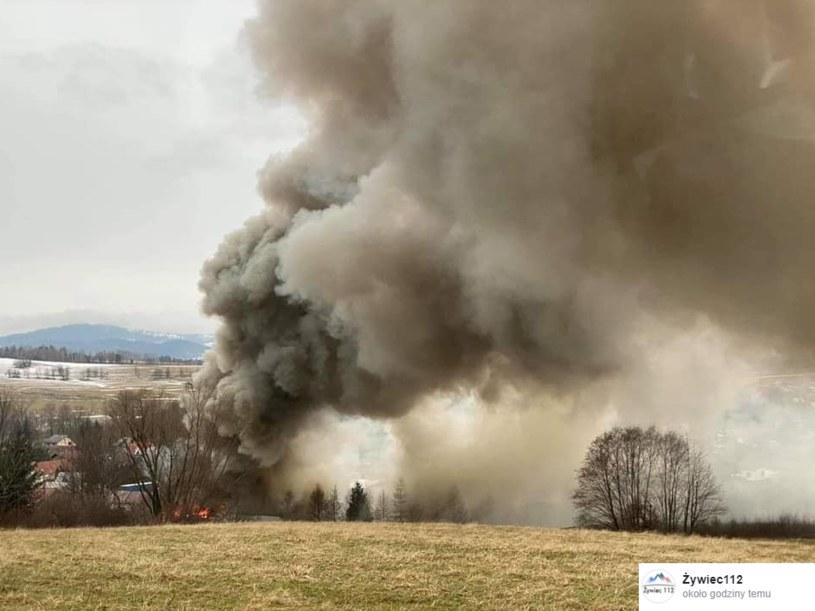 Pożar tartaku w Żabnicy /Żywiec112 /facebook.com