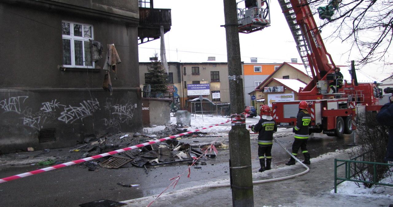 Pożar w bloku w Chrzanowie