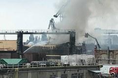 Pożar w dawnej Stoczni Gdańskiej