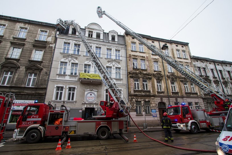 Pożar w kamienicy przy ul. Starowiślnej w Krakowie /Jan Graczyński /East News