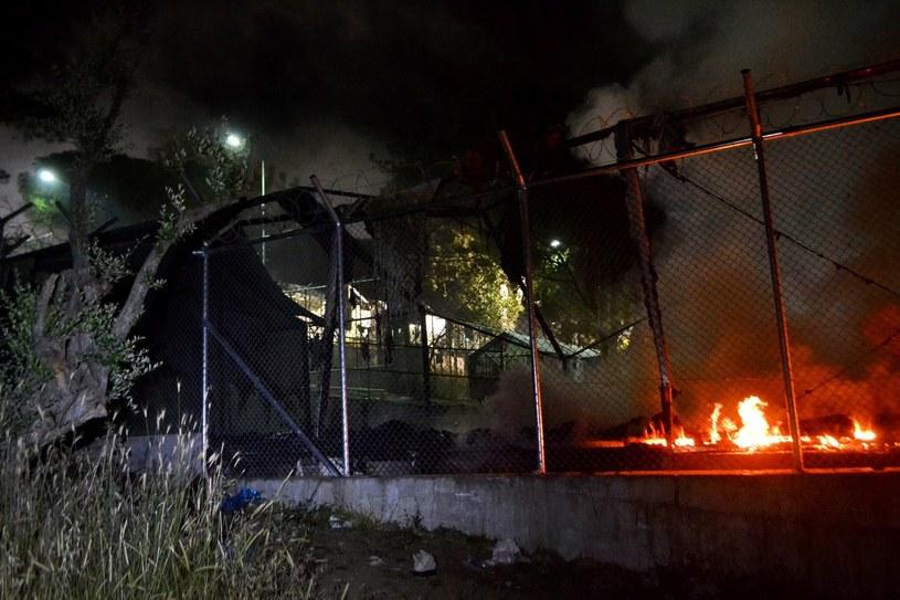 Pożar w obozie dla uchodźców /BALASKAS STRATIS /PAP/EPA