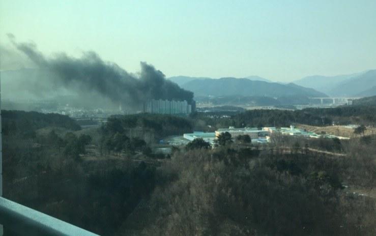 Pożar w pobliżu wioski olimpijskiej w Gangneung. /INTERIA.PL