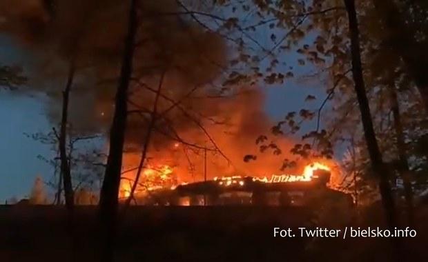 Pożar w sąsiedztwie dworca w Bielsku-Białej. Słup dymu uniósł się nad miastem [WIDEO]