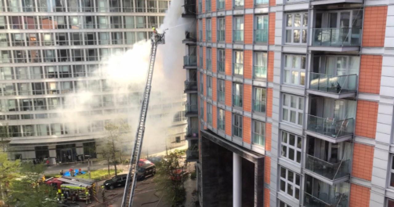 Pożar wieżowca w Londynie. Z ogniem walczyło ponad stu strażaków