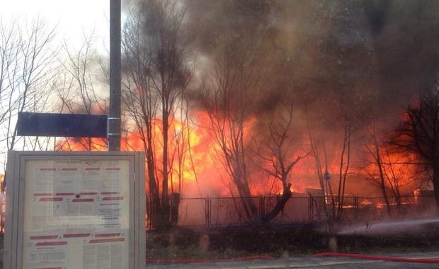 Pożar zakładu przetwórstwa drzewnego koło Kościerzyny