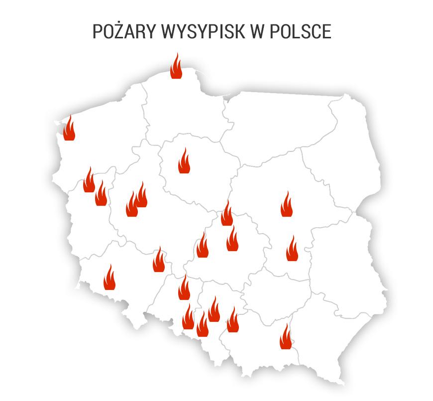 Pożary składowisk z ostatnich dwóch miesięcy – na podstawie doniesień medialnych /Grafika RMF FM