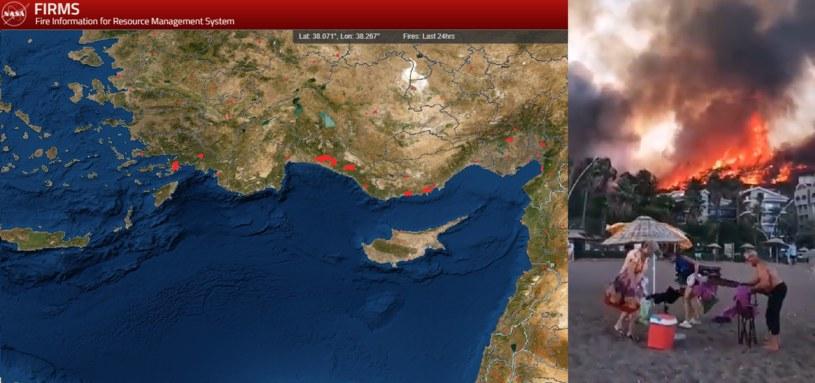 Pożary w Turcji /NASA/Twitter/@blkahn /INTERIA.PL