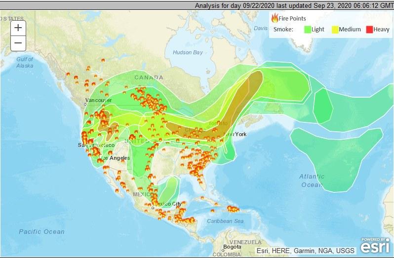 Pożary w USA, dane National Oceanic and Atmospheric Administration z 23 września 2020 /