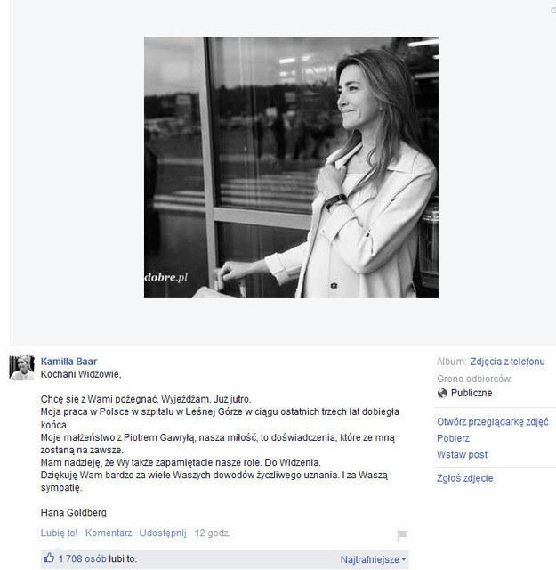 "Pożegnanie Kamilli Baar z widzami ""Na dobre i na złe"" /Facebook /internet"