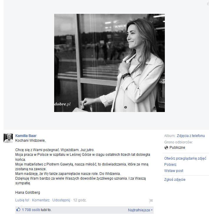 Pożegnanie Kamilli Baar z widzami /Facebook /internet