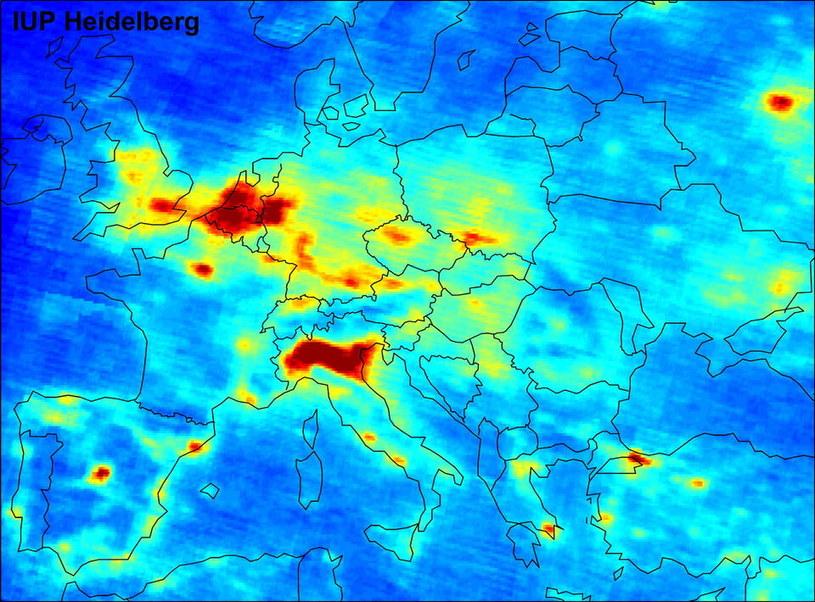 Poziom dwutlenek azotu - mapa przygotowana przez Europejską Agencję Kosmiczną. Fot. ESA /materiały prasowe