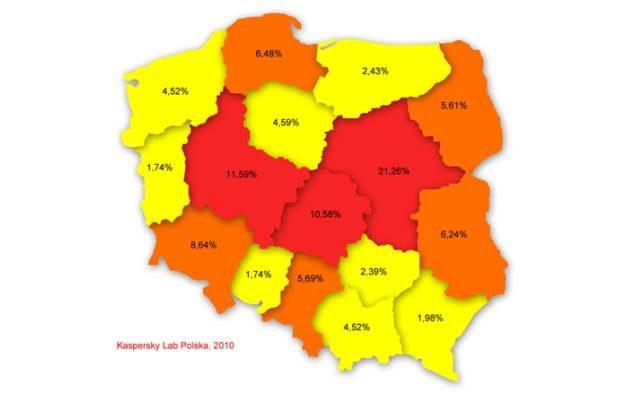 Poziom infekcji w poszczególnych województwach, maj 2010 według Kaspersky Lab /materiały prasowe