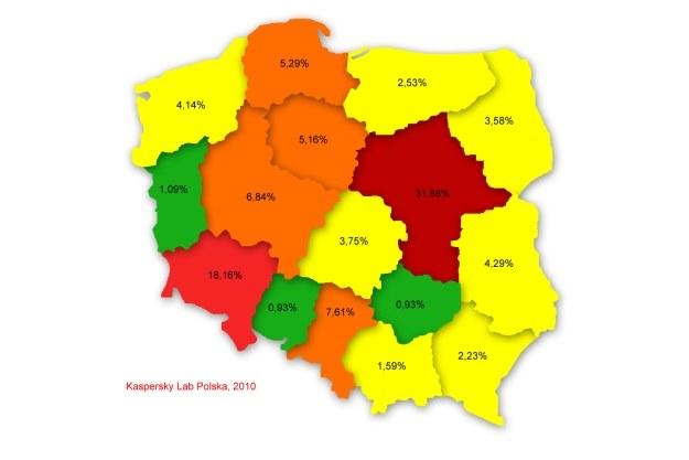 Poziom infekcji w poszczególnych województwach /materiały prasowe