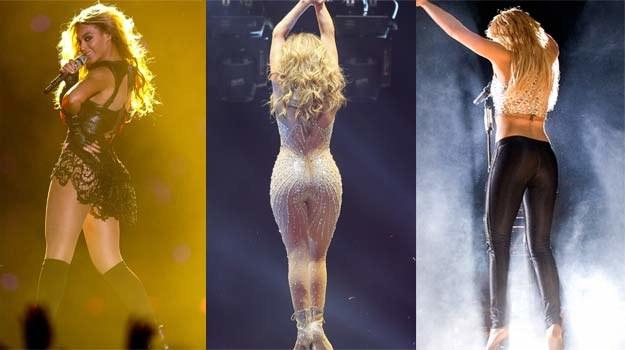 Poznajecie po pupie? Od lewej: Beyonce, Jennifer Lopez i Shakira /Getty Images/Flash Press Media