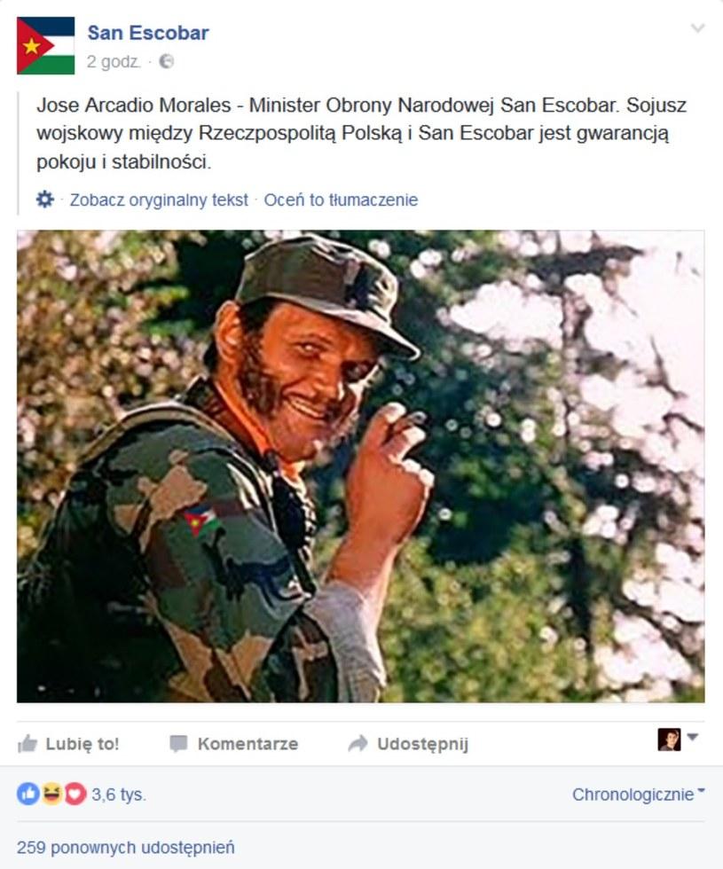Poznajecie tego pana? To właśnie on odpowiada za obronę narodową San Escobar /San Escobar Facebook /materiały prasowe
