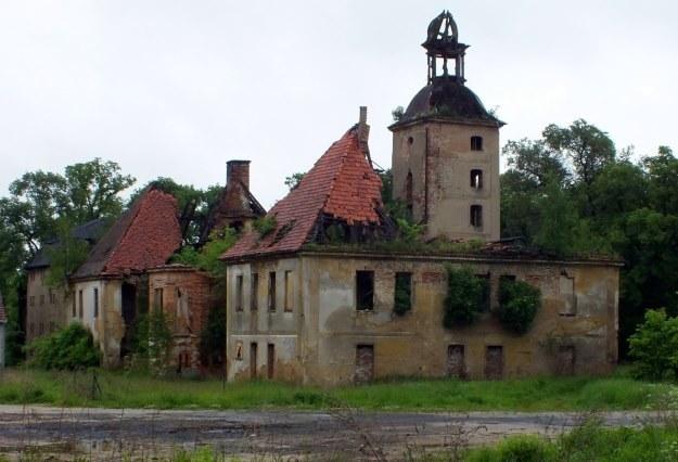 Pozostałości po pałacu w Żarskiej Wsi, w tle oficyna dworska. /autor /Odkrywca