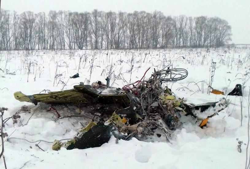 Pozostałości samolotu, który uległ katastrofie /ALEXANDER OLEINIKOV /PAP/EPA