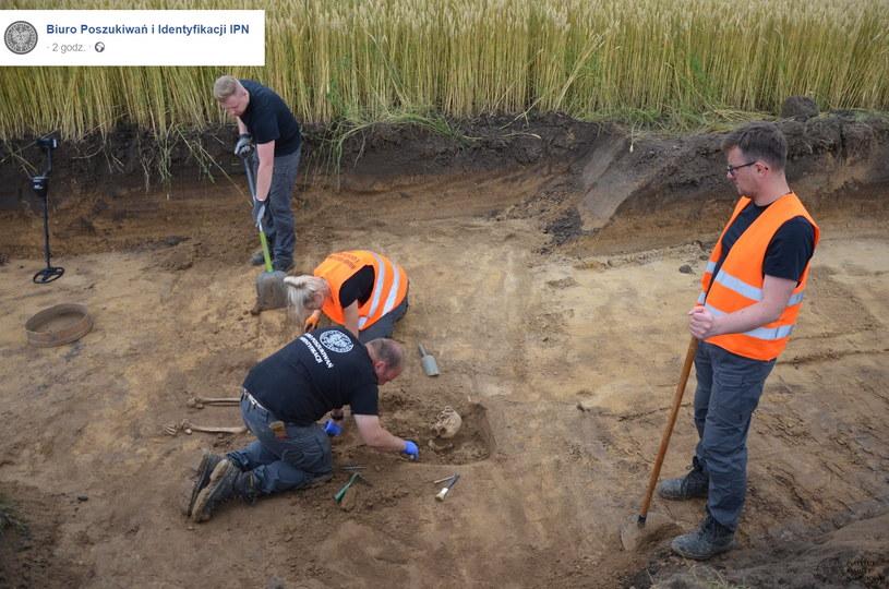 Prace poszukiwawcze w miejscowości Liski pod Hrubieszowem ujawniły szczątki trzech osób. /Facebook /facebook.com