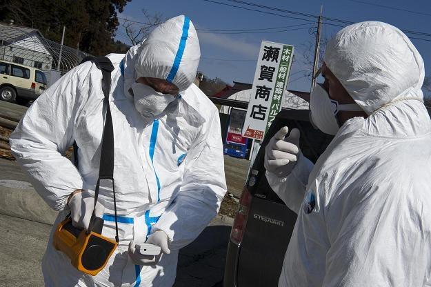 Pracownicy Greenpeace badają poziom promieniowania w mieście Namie /AFP