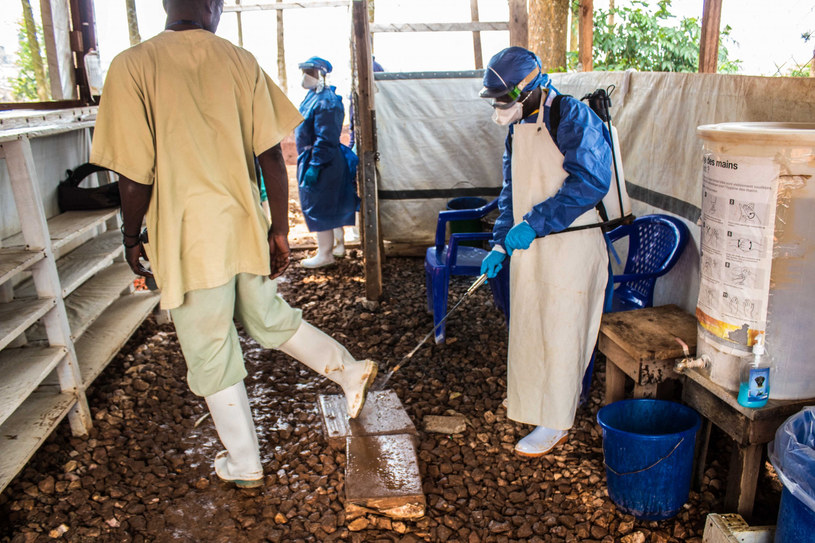 Pracownicy medyczni prowadzą dezynfekcję w czasie walki z wirusem Ebola, zdjęcie ilustracyjne /AA/ABACA/Abaca/East News /East News