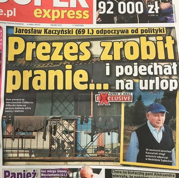 """Pranie Kaczyńskiego na okładce """"Super Expressu"""" /materiał zewnętrzny"""