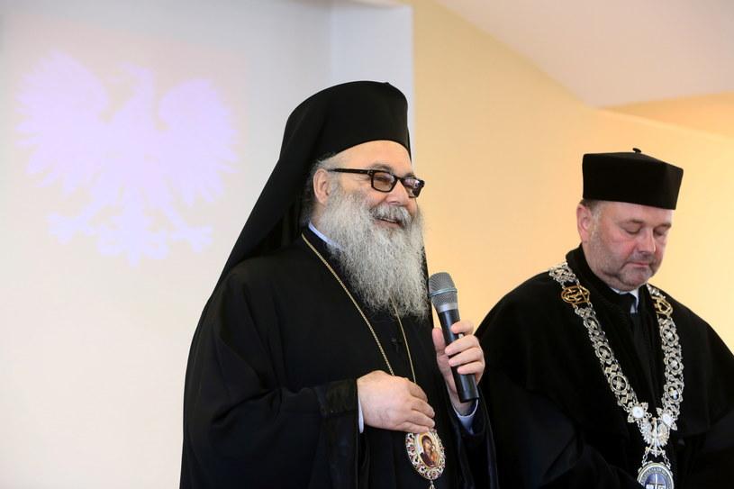 Prawosławny patriarcha antiocheński Jan X (L) oraz rektor ChAT ks. prof. Bogusław Milerski /Leszek Szymański /PAP