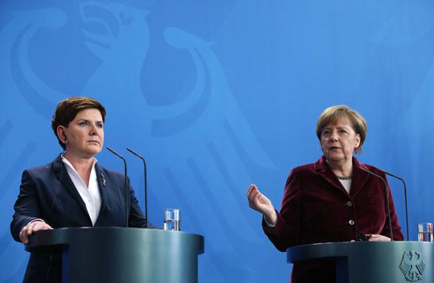 Premier Beata Szydło i kanclerz Angela Merkel /AFP
