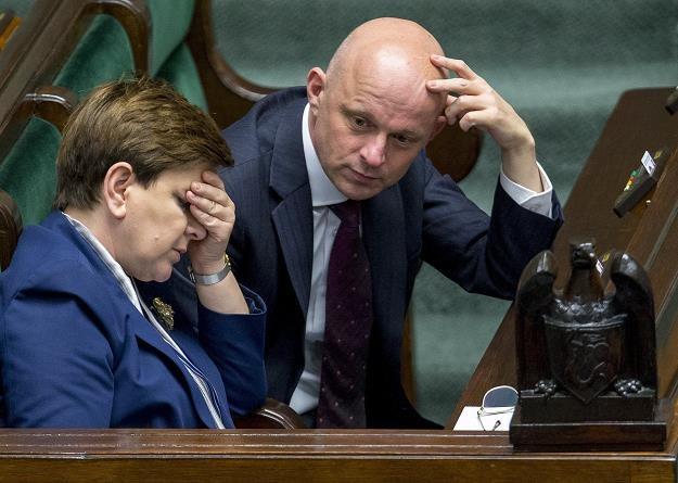 Premier Beata Szydło i minister finansów Pawel Szalamacha. fot Andrzej Iwanczuk /Reporter