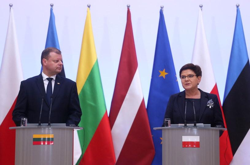 Premier Beata Szydło i premier Litwy Saulius Skvernelis /Paweł Supernak /PAP