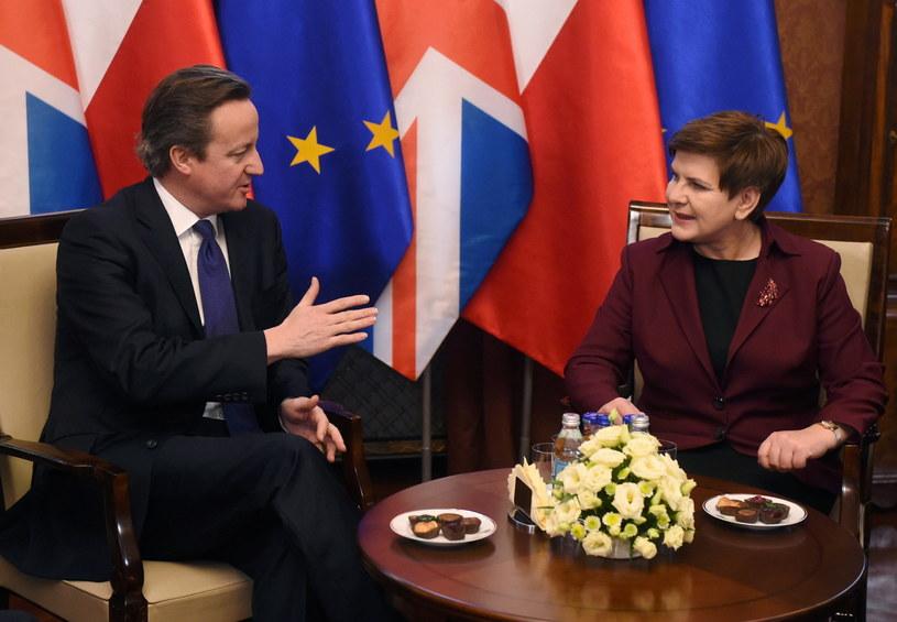 Premier Beata Szydło i premier Wielkiej Brytanii David Cameron podczas powitania w KPRM /Radek Pietruszka /PAP