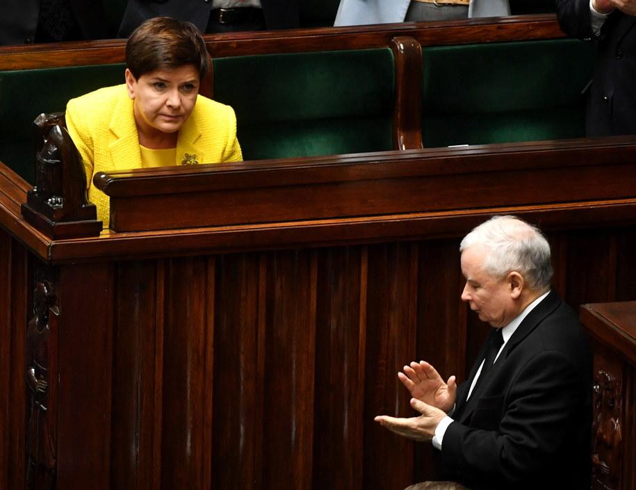 Premier Beata Szydło i prezes KP PiS Jarosław Kaczyński w Sejmie /Bartłomiej Zborowski /PAP