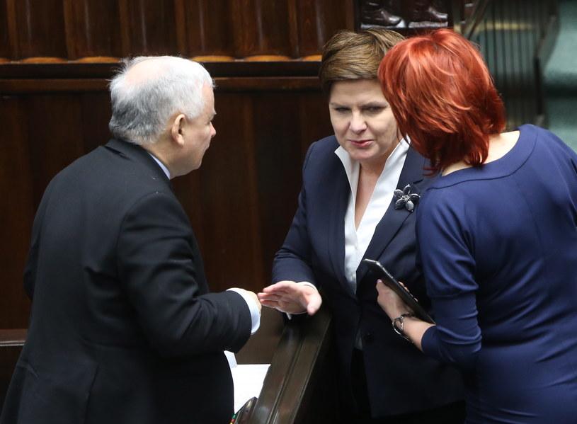 Premier Beata Szydło i prezes PiS Jarosław Kaczyński na sali sejmowej /Leszek Szymański /PAP