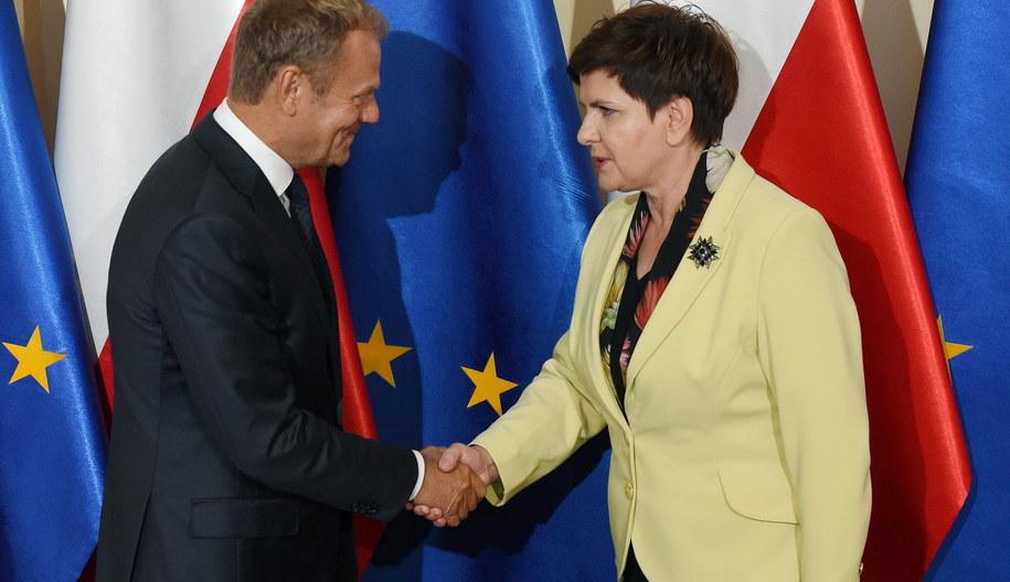 Premier Beata Szydło i przewodniczący Rady Europejskiej Donald Tusk /Radek Pietruszka /PAP