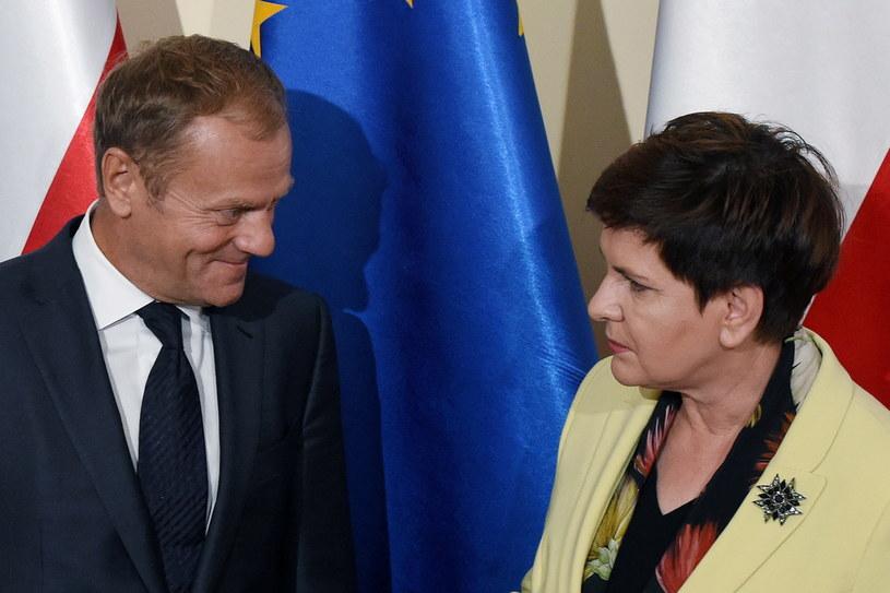 Premier Beata Szydło i przewodniczący Rady Europejskiej Donald Tusk podczas spotkania w Warszawie /Radek Pietruszka /PAP