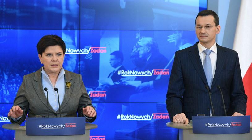 Premier Beata Szydło i wicepremier Mateusz Morawiecki /Radek Pietruszka /PAP
