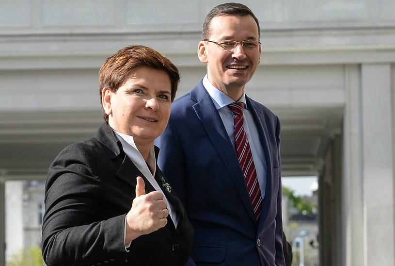 Premier Beata Szydło oraz minister rozwoju Mateusz Morawiecki /Marcin Obara /PAP