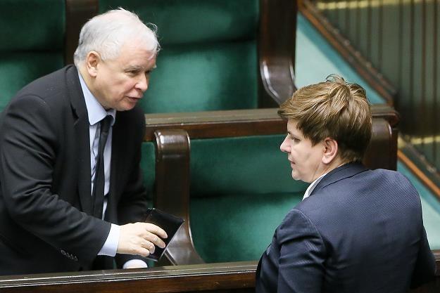 Premier Beata Szydło (P) i prezes PiS Jarosław Kaczyński (L) /PAP