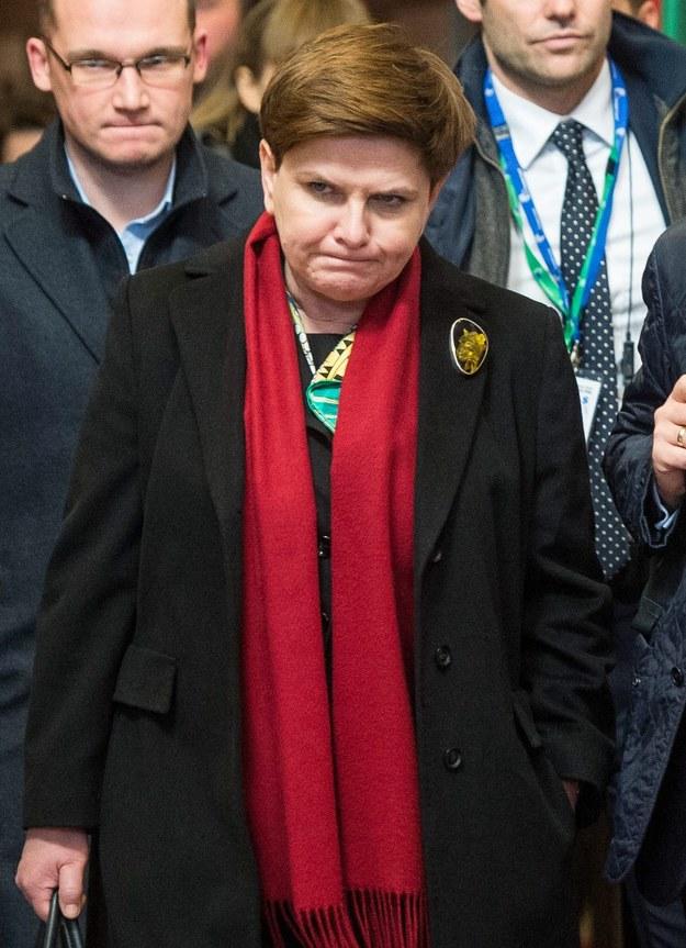Premier Beata Szydło po pierwszym dniu negocjacji w Brukseli /STEPHANIE LECOCQ  /PAP/EPA