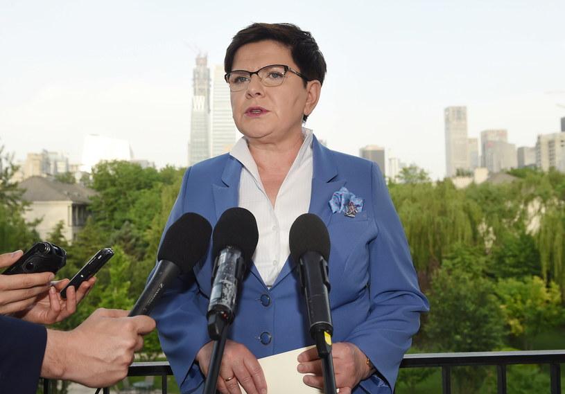 Premier Beata Szydło podczas konferencji prasowej w Pekinie /Radek Pietruszka /PAP