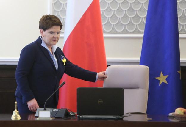 Premier Beata Szydło podczas posiedzenia rządu /Leszek Szymański /PAP