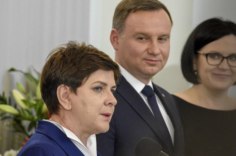 Premier Beata Szydło , prezydent Andrzej Duda /Jacek Dominski/REPORTER /East News