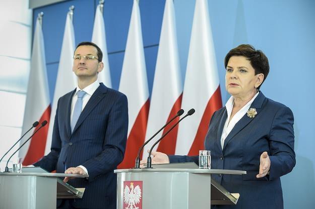 Premier Beata Szydło, wicepremier Mateusz Morawiecki. Fot. Jacek Domiński /Reporter