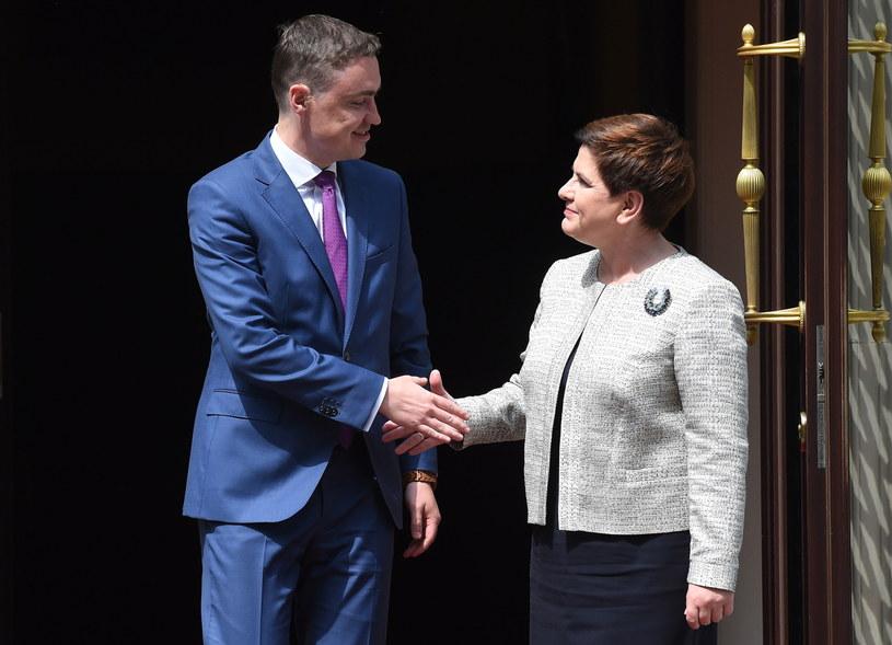Premier Beata Szydło wita premiera Estonii Taavi Roivasa /Radek Pietruszka /PAP