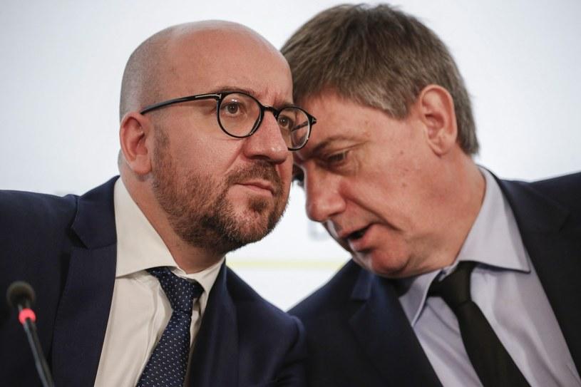 Premier Belgii Charles Michel i belgijski minister spraw wewnętrznych Jan Jambon podczas Rady Bezpieczeństwa Narodowego /EPA/JULIEN WARNAND /PAP/EPA