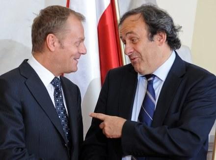 Premier Donald Tusk i  Michel Platini /AFP