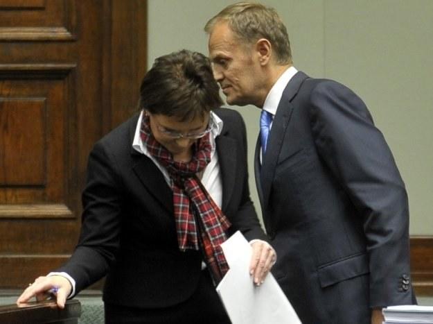 Premier Donald Tusk i minister zdrowia Ewa Kopacz / fot. W. Rozbicki /Reporter