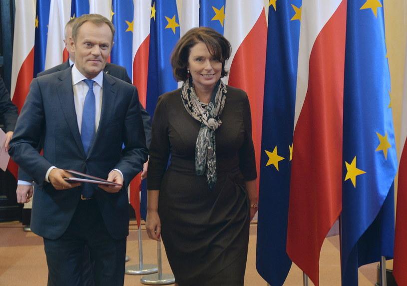 Premier Donald Tusk i nowy rzecznik rządu Małgorzata Kidawa-Błońska /Radek Pietruszka /PAP