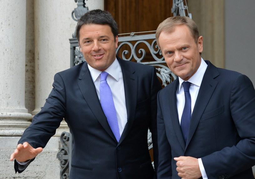 Premier Donald Tusk i premier Włoch Mateo Renzi /Radek Pietruszka /PAP