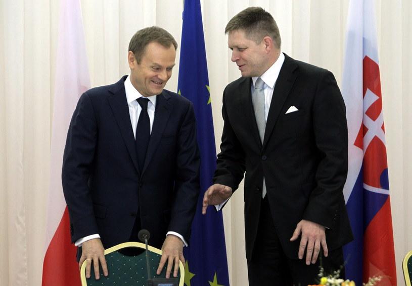 Premier Donald Tusk (L) i premier Słowacji Robert Fico /Radek Pietruszka /PAP